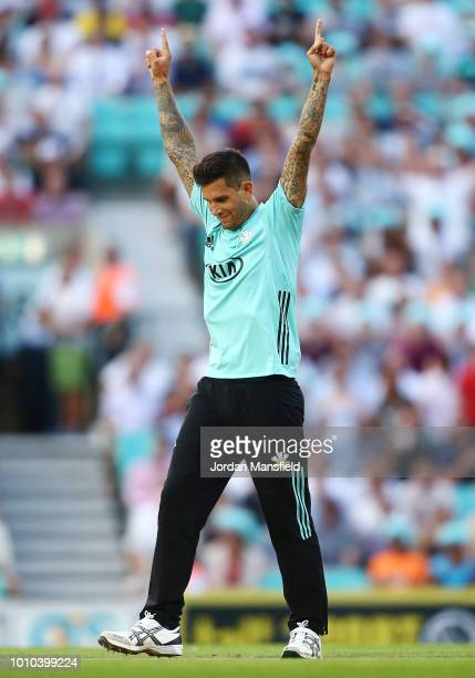Jade Dernbach of Surrey celebrates dismissing Nick Gubbins of Middlesex during the Vitality Blast match between Surrey and Middlesex at The Kia Oval...