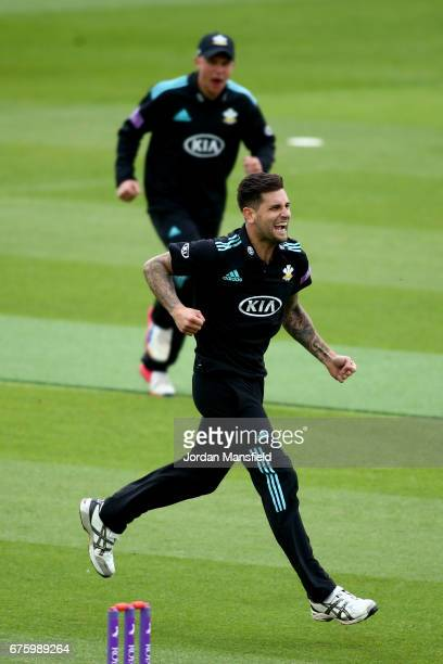 Jade Dernbach of Surrey celebrates dismissing Ravi Bopara of Essex during the Royal London OneDay Cup match between Surrey and Essex at The Kia Oval...