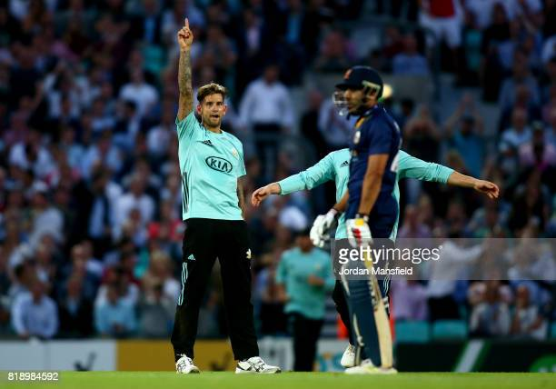 Jade Dernbach of Surrey celebrates dismissing Ravi Bopara of Essex during the NatWest T20 Blast match between Surrey and Essex Eagles at The Kia Oval...