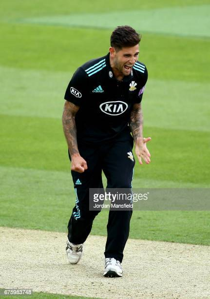 Jade Dernbach of Surrey celebrates dismissing Tom Westley of Essex during the Royal London OneDay Cup match between Surrey and Essex at The Kia Oval...