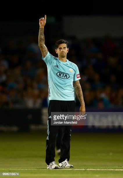 Jade Dernbach of Surrey celebrates taking the final wicket of Danny Briggs of Sussex during the Vitality Blast match between Sussex Sharks and Surrey...
