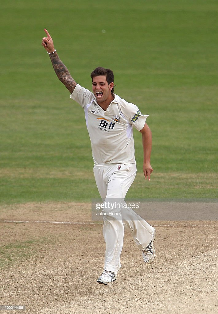 Jade Dernbach of Surrey celebrates taking the wicket of Andrew Strauss of Middlesex during day four of the LV= County Championship Division Two match between Surrey and Middlesex at The Brit Oval on May 20, 2010 in London, England.