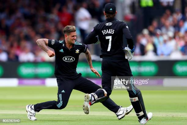 Jade Dernbach of Surrey celebrates the wicket of Brendan Taylor of Nottinghamshire during the Royal London OneDay Cup Final betwen Nottinghamshire...