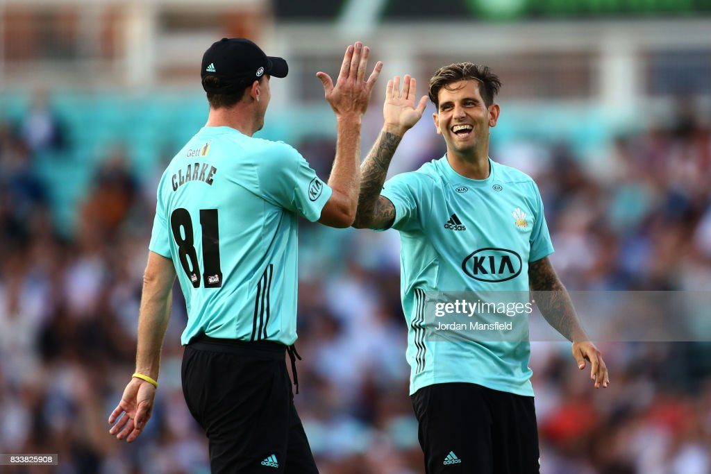 Jade Dernbach of Surrey (R) celebrates with Rikki Clarke of Surrey (L) after dismissing Jack Taylor of Gloucestershire during the NatWest T20 Blast match between Surrey and Gloucestershire at The Kia Oval on August 17, 2017 in London, England.