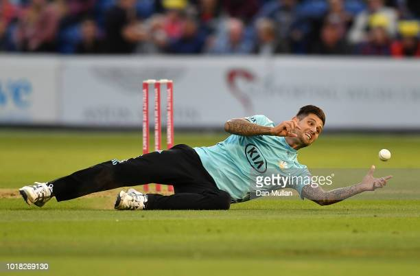 Jade Dernbach of Surrey drops a catch from Chris Cooke of Glamorgan during the Vitality Blast match between Glamorgan and Surrey at Sophia Gardens on...