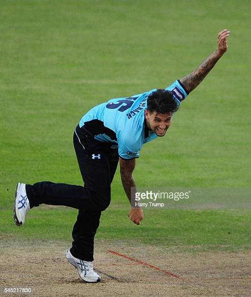 Jade Dernbach of Surrey during the Natwest T20 Blast match between Gloucestershire and Surrey at The Brightside Ground on July 6 2016 in Bristol...