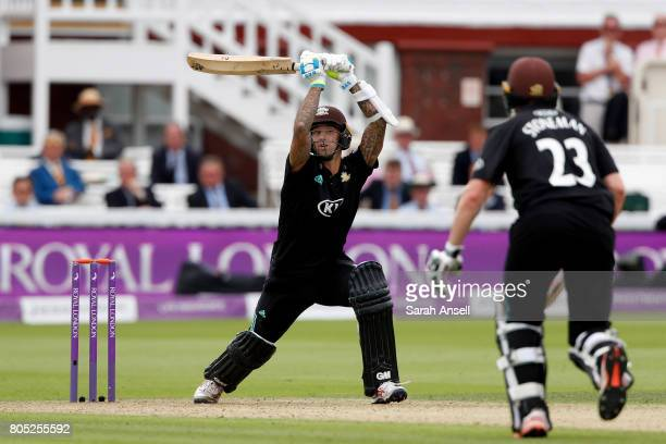Jade Dernbach of Surrey hits our during the match between Nottinghamshire and Surrey at Lord's Cricket Ground on July 1 2017 in London England