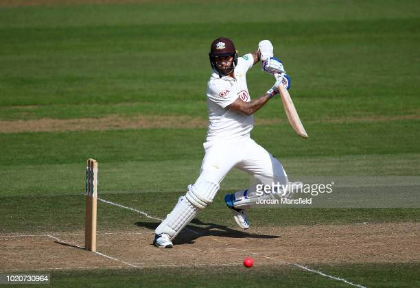 Amar Virdi of Surrey celebrates dismissing Shivnarine Chanderpaul of Lancashire during day three of the Specsavers County Championship Division One...