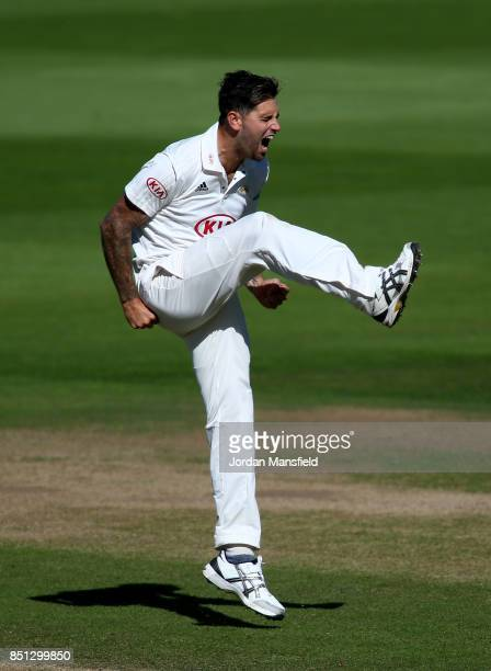 Jade Dernbach of Surrey reacts during day four of the Specsavers County Championship Division One match between Surrey and Somerset at The Kia Oval...