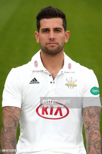 Jade Dernbach poses in the Specsavers County Championship kit during the Surrey CCC Photocall at The Kia Oval on April 4 2017 in London England