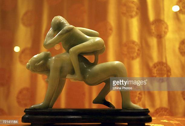 A jade erotic art made during Ming Dynasty is on display at Xian Branch of Chinese Sex Museum on October 10 2006 in Xian of Shaanxi Province China...