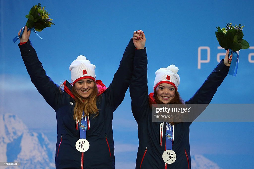 Jade Etherington and Guide Caroline Powell of Great Britain celebrates winning Silvier in the Women's Slalom - Visually Impaired on March 12, 2014 in Sochi, Russia.