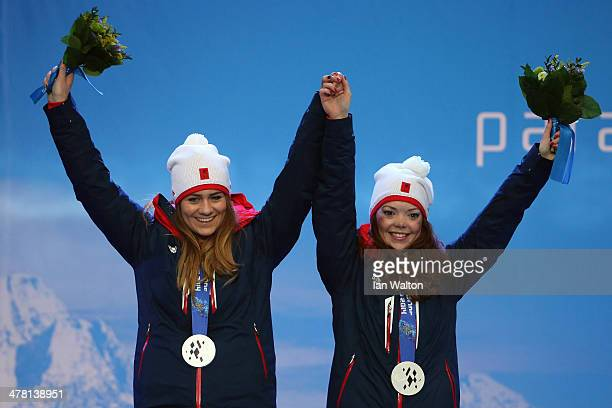 Jade Etherington and Guide Caroline Powell of Great Britain celebrates winning Silvier in the Women's Slalom Visually Impaired on March 12 2014 in...