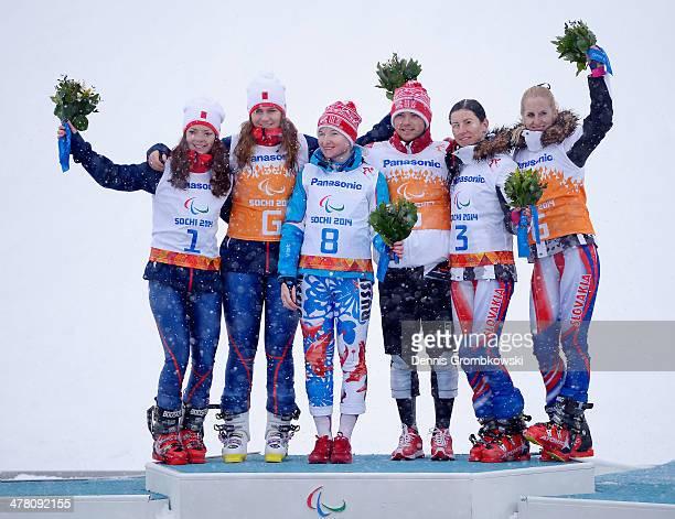 Jade Etherington of Great Britain and her guide Caroline Powell Aleksandra Frantceva of Russia and her guide Pavel Zabotin and Henrieta Farkasova of...