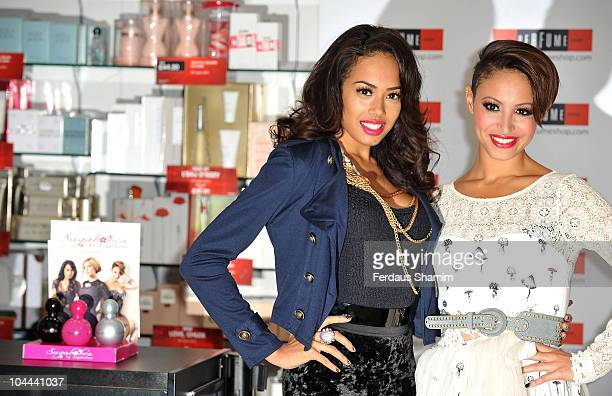 Jade Ewen and Amelle Berrabah of Sugababes launch debut fragarances 'Tease Tempt and Touch' at Westfield on September 25 2010 in London England