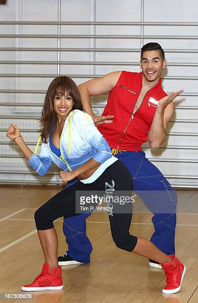 Jade Ewen and Louis Smith attend a photocall to launch Zumba Fitness' Great Calorie Drive initiative at Columbo Centre on April 24 2013 in London...