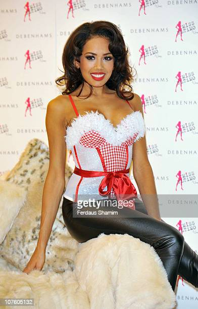 Jade Ewen appears in Miss Ultimo 'Santa Baby' basque at Debenhams on December 15 2010 in London England