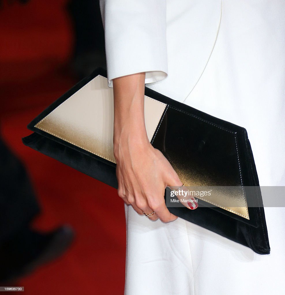 Jade Ewen Bag detail) attends the UK Premiere of 'Flight' at The Empire Cinema on January 17, 2013 in London, England.