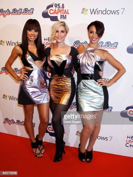 Jade Ewen Heidi Range and Amelle Berrabah of the Sugababes attends the Capital FM Jingle Bell Ball Day 1 at 02 Arena on December 5 2009 in London...