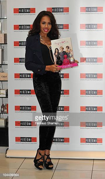Jade Ewen of Sugababes launches debut fragarances 'Tease Tempt and Touch' at Westfield on September 25 2010 in London England