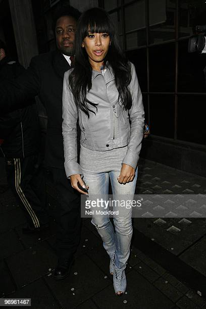 Jade Ewen of the Sugababes sighted leaving BBC Radio One studios on February 22 2010 in London England