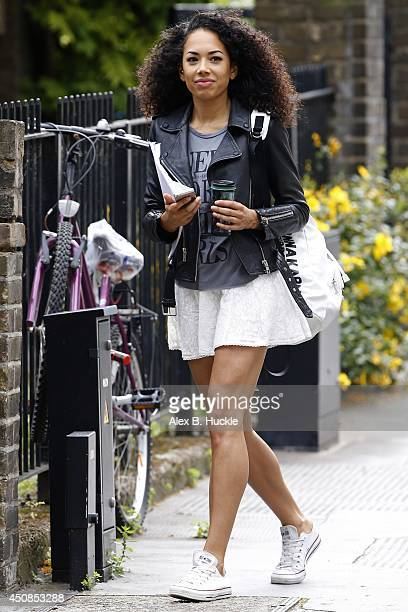 Jade Ewen seen arriving for rehearsal of 'Porgy and Bess' on June 19 2014 in London England