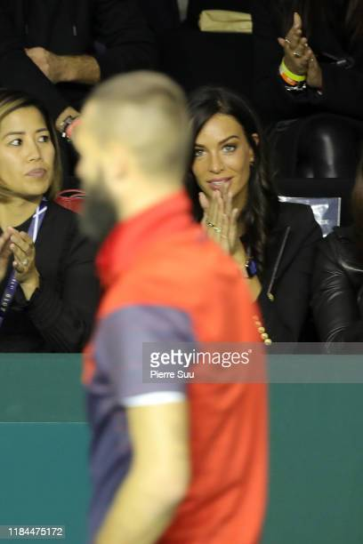 Jade Foret is seen supporting Benoit Paire at AccorHotels Arena Popb Paris Bercy on October 30 2019 in Paris France