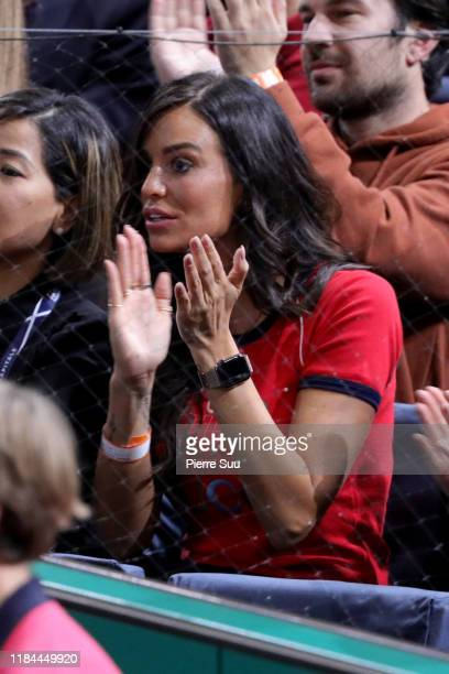 Jade Foret is seen supporting Benoit Paire during his second round match against Gael Monfils of France at AccorHotels Arena Popb Paris Bercy on...