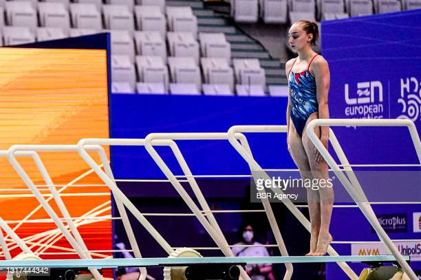 Jade Gillet of France competing at the Team Event Final during the LEN European Aquatics Championships 1m Springboard Preliminary at Duna Arena on...