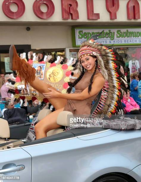 Jade Glab Miss North Monmouth County is Sacagawea in the Miss New Jersey Women In History themed parade on June 13 2018 in Ocean City New Jersey