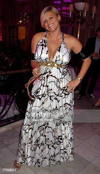 Jade Goody attends the cocktail party during The Pink Ice Ball In Aid Of Cancer Research UK at The Waldorf Hilton Hotel on October 5 2007 in London...