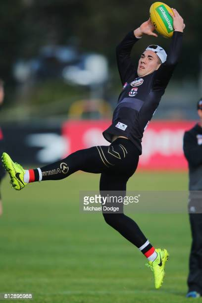 Jade Gresham marks the ball during a St Kilda Saints AFL training session at Linen House Oval on July 12 2017 in Melbourne Australia