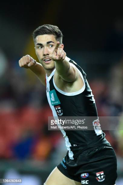 Jade Gresham of the Saints celebrates kicking a goal during the round 10 AFL match between the Gold Coast Suns and the St Kilda Saints at Metricon...