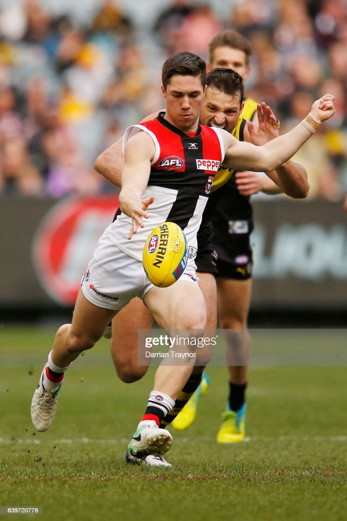 Jade Gresham of the Saints kicks a goal during the round 23 AFL match between the Richmond Tigers and the St Kilda Saints at Melbourne Cricket Ground on August 27, 2017 in Melbourne, Australia.