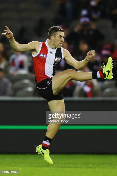 Jade Gresham of the Saints kicks the ball during the round 14 AFL match between the St Kilda Saints and the Gold Coast Suns at Etihad Stadium on June...