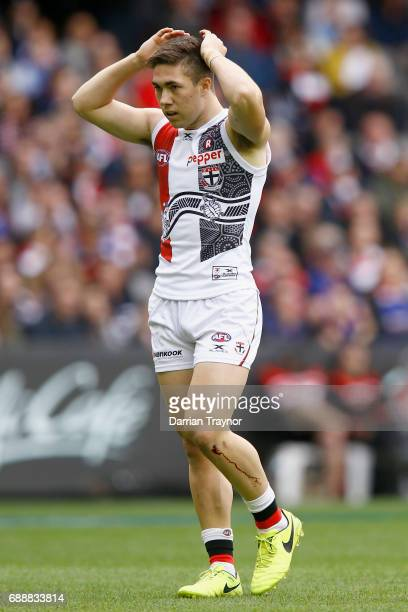 Jade Gresham of the Saints reacts after missing a goal during the round 10 AFL match between the Western Bulldogs and the St Kilda Saints at Etihad...