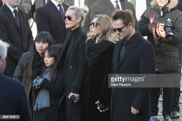 Jade Hallyday Joy Hallyday Laeticia Hallyday Laura Smet and David Hallyday are seen during Johnny Hallyday's funeral at Eglise De La Madeleine on...