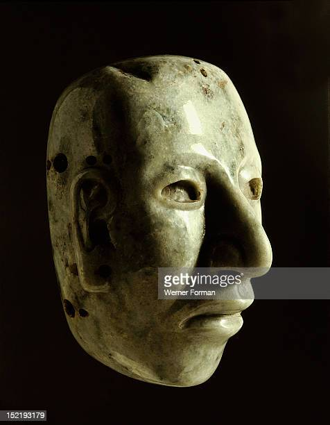 Jade head The hole in the forehead suggests that it was worn as a pendant by a nobleman or high priest Mexico Aztec