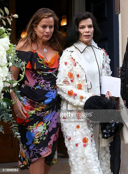 Jade Jagger and Bianca Jagger are seen leaving Jerry Hall and Rupert Murdoch wedding reception at Spencer House on March 5 2016 in London England