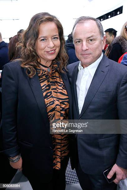 Jade Jagger and Chairman and Chief Executive Officer of Louis Vuitton Michael Burke attend the Louis Vuitton Menswear Fall/Winter 20162017 Fashion...