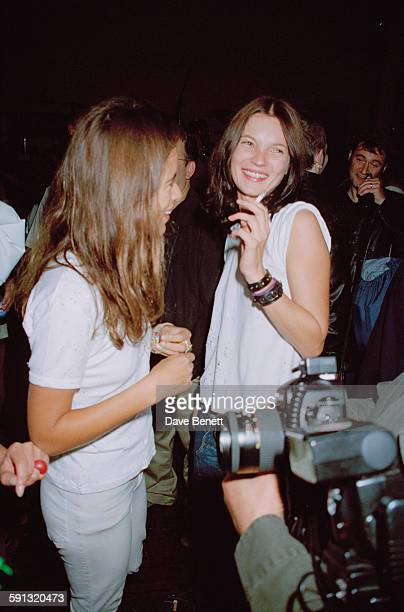 Jade Jagger and fashion model Kate Moss at a party for the documentary film 'The Clash Westway to the World' at the Cobden Club London 21st September...
