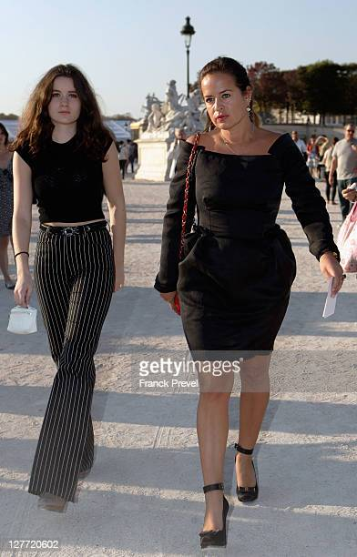 Jade Jagger and her daughter Amba Jackson arrive at the Christian Dior Ready to Wear Spring / Summer 2012 show during Paris Fashion Week at Musee...