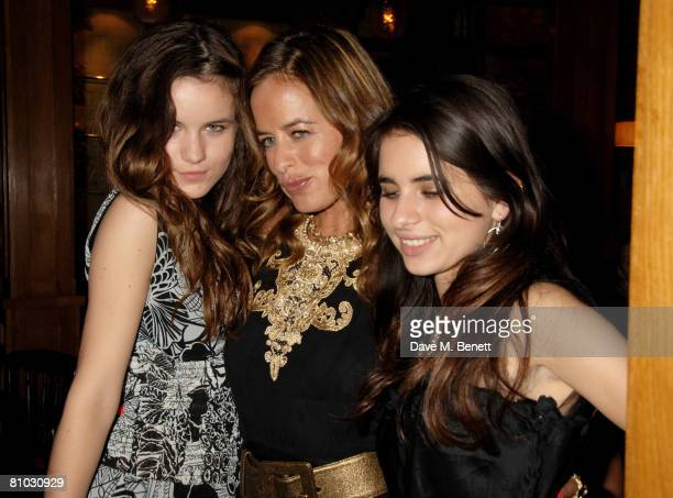 Jade Jagger and her daughters Amba and Assisi Jackson attend the launch party of the Belvedere Jagger Dagger at Automat on May 8 2008 in London...