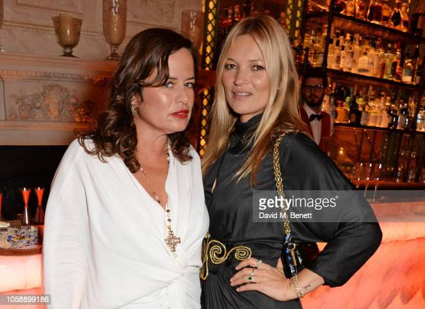 Jade Jagger and Kate Moss attend the Annabel's Art Auction fundraiser in aid of Teenage Cancer Trust Teen Cancer America at Annabel's on November 7...