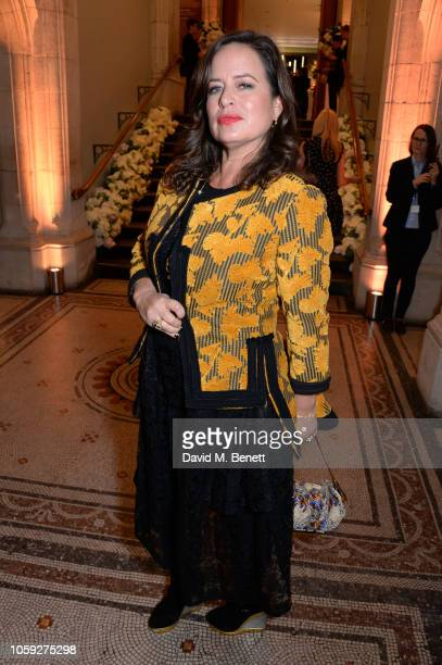 Jade Jagger attends a party celebrating Edward Enninful's one year anniversary as EditorinChief of British Vogue at The National Portrait Gallery on...