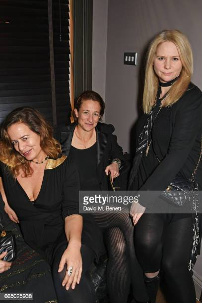 Jade Jagger Leah Wood and Lee Starkey attend 'Keep Live Music Alive In Soho presented by Copper Dog at The Piano Bar Soho on April 5 2017 in London...