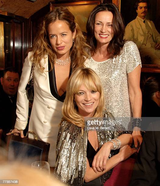 Jade Jagger Trish Simonen and Kate moss attend the launch of Kate Moss's new Top Shop 'Christmas Range' collection at Annabel's October 16 2007 in...