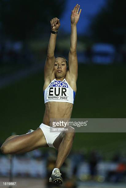 Jade Johnson of Europe in action during the Women's Long Jump event at the 9th IAAF World Cup in Athletics at the Estadio de la Comunidad de Madrid...