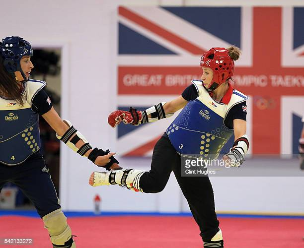 Jade Jones and Bianca Walkden train during the announcement of taekwondo athletes named in Team GB for the Rio 2016 Olympic Games at the National...