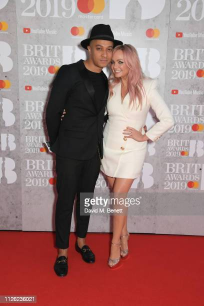 Jade Jones and Emma Bunton arrive at The BRIT Awards 2019 held at The O2 Arena on February 20, 2019 in London, England.